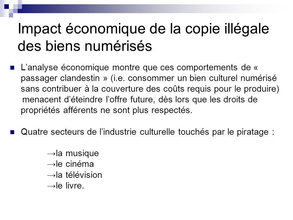 Impact économique de la copie illégale des biens numérisés L'analyse économique montre que ces comportements de « passager clandestin » (i.e. consomme