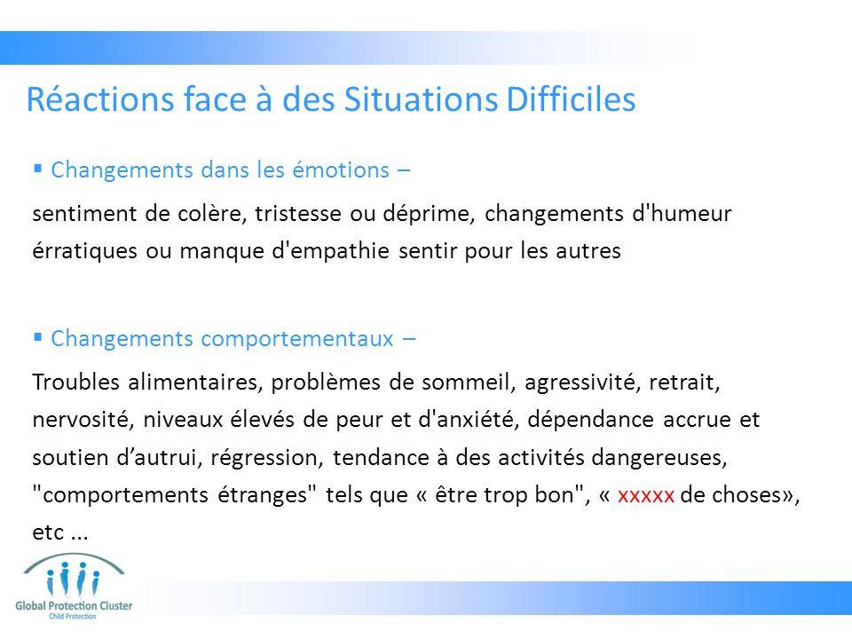  Changements dans les émotions – sentiment de colère, tristesse ou déprime, changements d'humeur érratiques ou manque d'empathie sentir pour les autr