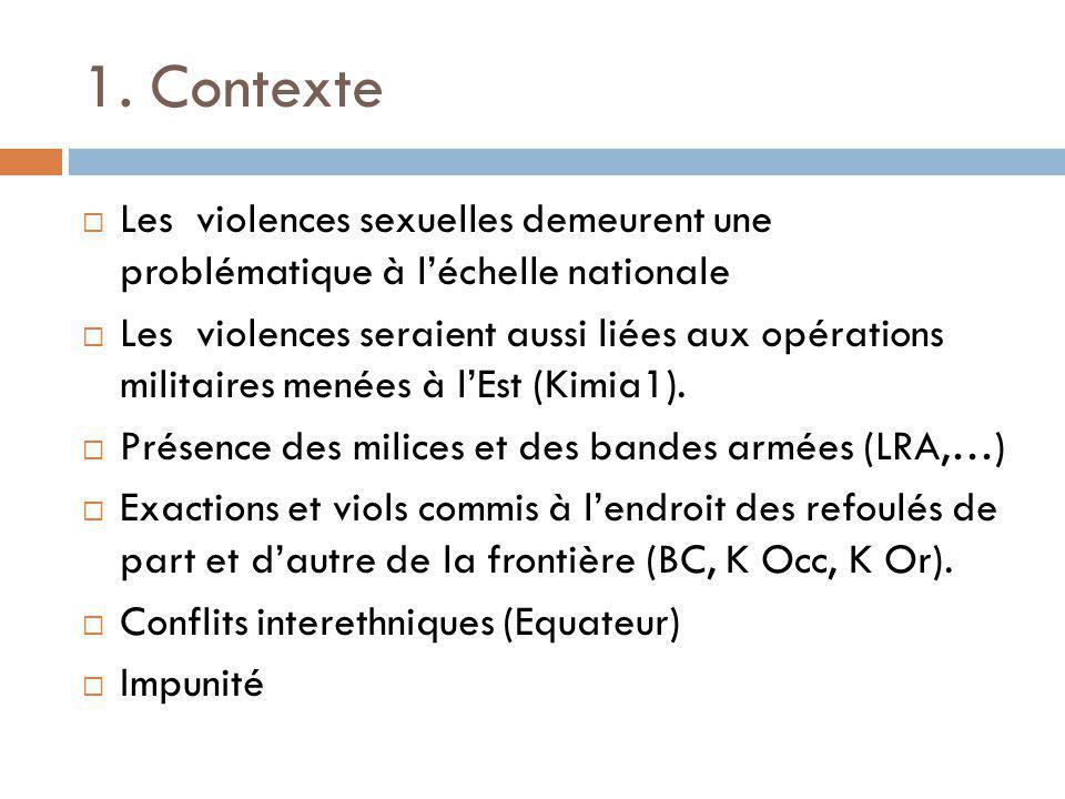 1. Contexte  Les violences sexuelles demeurent une problématique à l'échelle nationale  Les violences seraient aussi liées aux opérations militaires