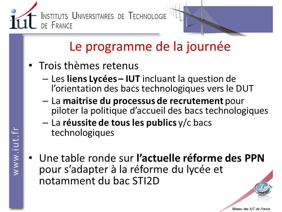 La communication et la consolidation des liens entre les IUT et les filières technologiques au lycée Journée « Accueil et réussite des bacs technologiques en IUT » - 18 décembre 2012