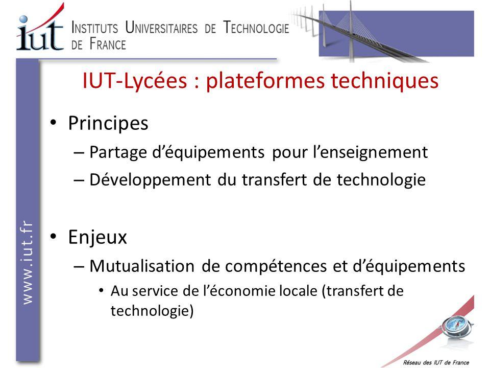 IUT-Lycées : plateformes techniques Principes – Partage d'équipements pour l'enseignement – Développement du transfert de technologie Enjeux – Mutualisation de compétences et d'équipements Au service de l'économie locale (transfert de technologie)