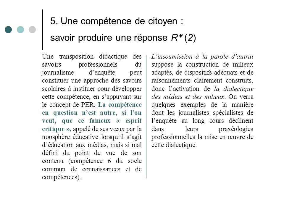 5. Une compétence de citoyen : savoir produire une réponse R (2) Une transposition didactique des savoirs professionnels du journalisme d'enquête peut