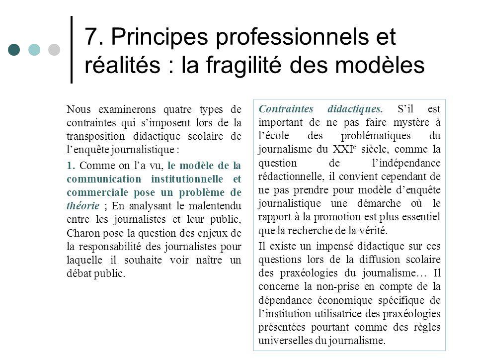 7. Principes professionnels et réalités : la fragilité des modèles Nous examinerons quatre types de contraintes qui s'imposent lors de la transpositio