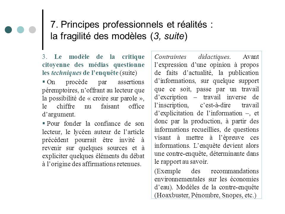 7. Principes professionnels et réalités : la fragilité des modèles (3, suite) 3. Le modèle de la critique citoyenne des médias questionne les techniqu