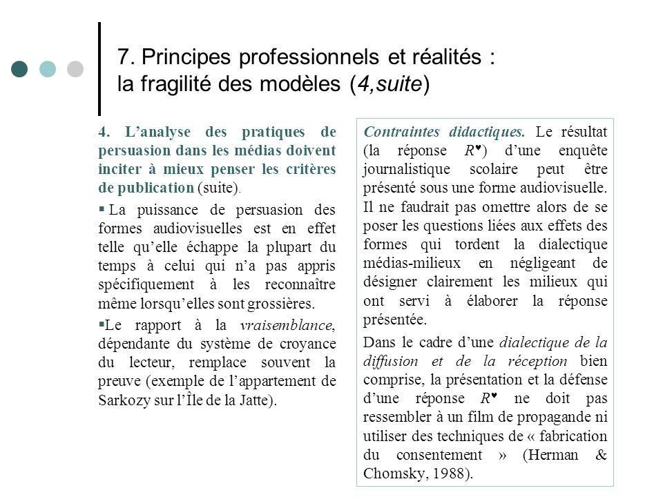 7. Principes professionnels et réalités : la fragilité des modèles (4,suite) 4. L'analyse des pratiques de persuasion dans les médias doivent inciter