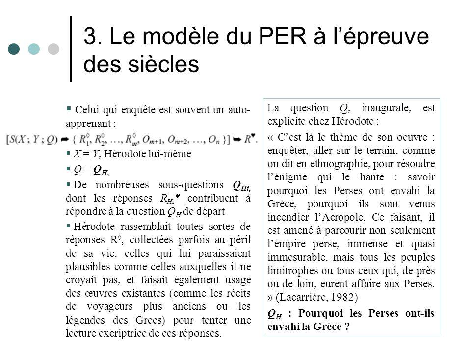 3. Le modèle du PER à l'épreuve des siècles  Celui qui enquête est souvent un auto- apprenant :  X = Y, Hérodote lui-même  Q = Q H,  De nombreuses