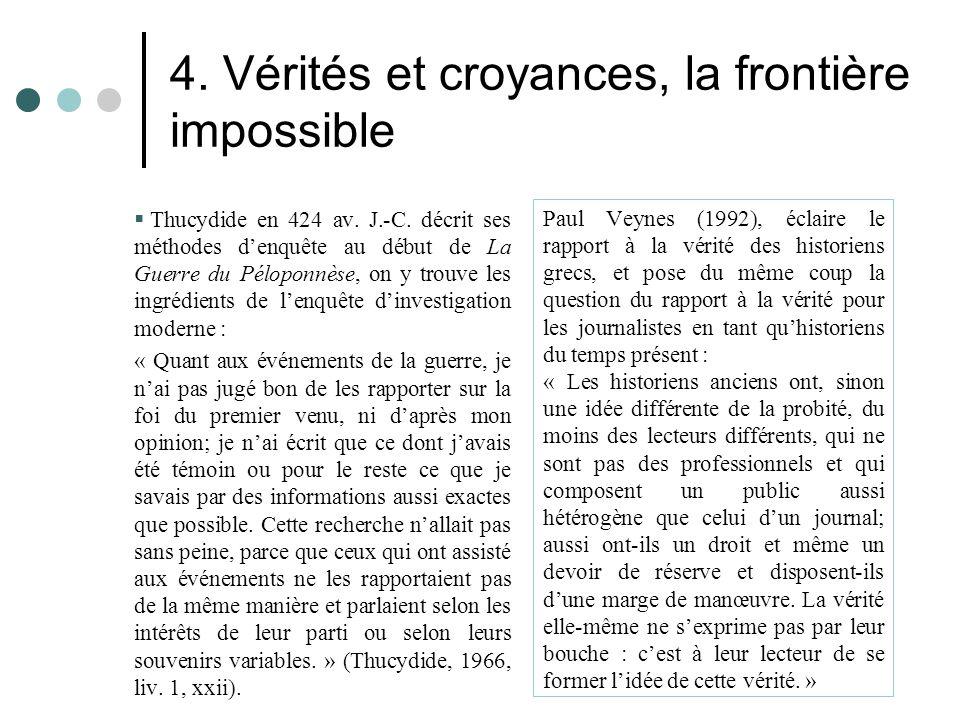 4. Vérités et croyances, la frontière impossible  Thucydide en 424 av. J.-C. décrit ses méthodes d'enquête au début de La Guerre du Péloponnèse, on y