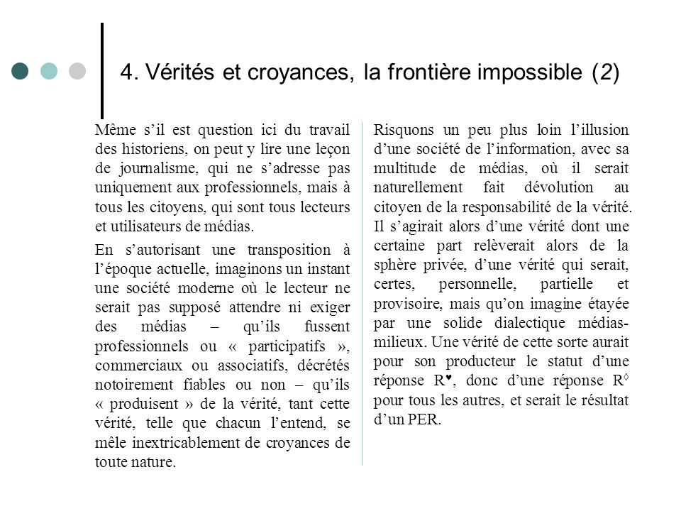 4. Vérités et croyances, la frontière impossible (2) Même s'il est question ici du travail des historiens, on peut y lire une leçon de journalisme, qu