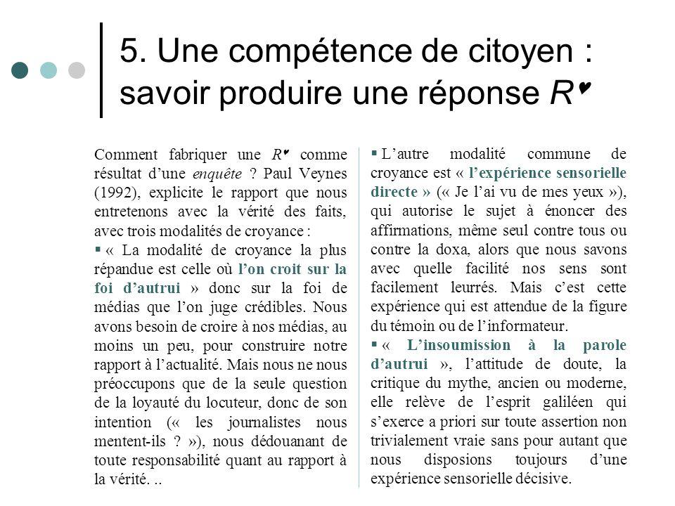 5. Une compétence de citoyen : savoir produire une réponse R Comment fabriquer une R comme résultat d'une enquête ? Paul Veynes (1992), explicite le r
