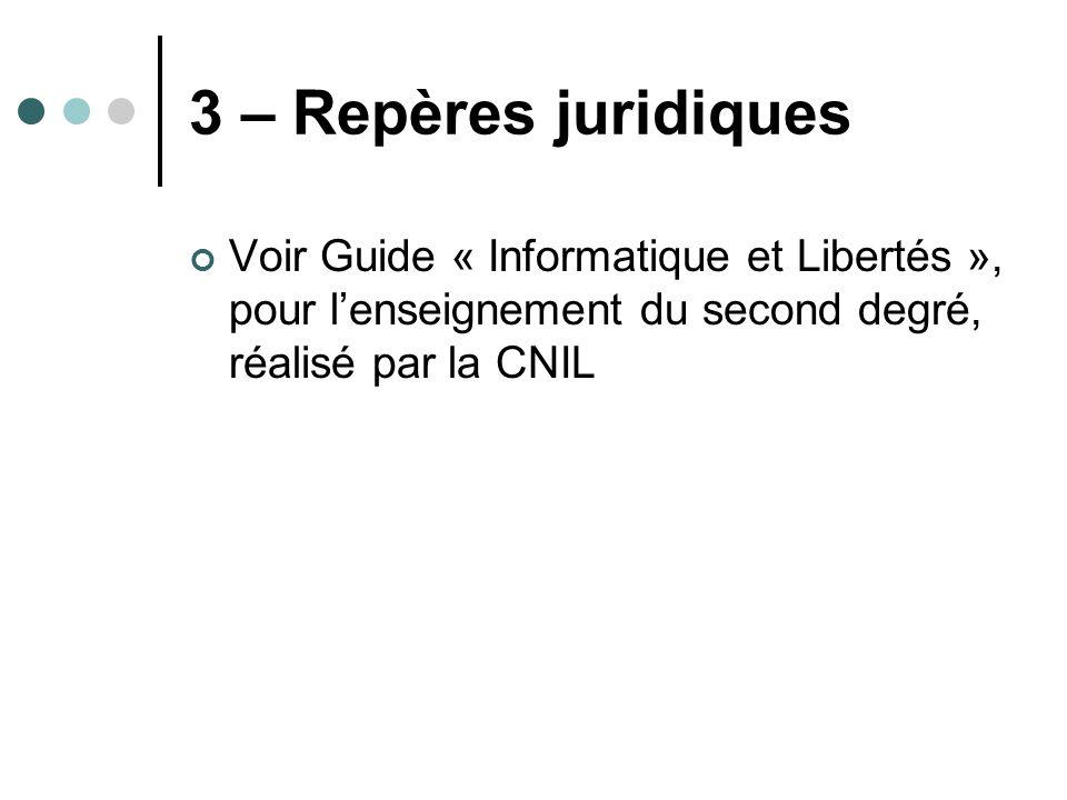 3 – Repères juridiques Voir Guide « Informatique et Libertés », pour l'enseignement du second degré, réalisé par la CNIL