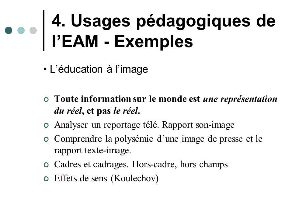 4. Usages pédagogiques de l'EAM - Exemples L'éducation à l'image Toute information sur le monde est une représentation du réel, et pas le réel. Analys