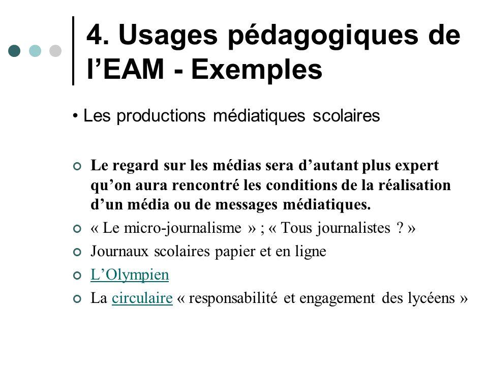 4. Usages pédagogiques de l'EAM - Exemples Les productions médiatiques scolaires Le regard sur les médias sera d'autant plus expert qu'on aura rencont