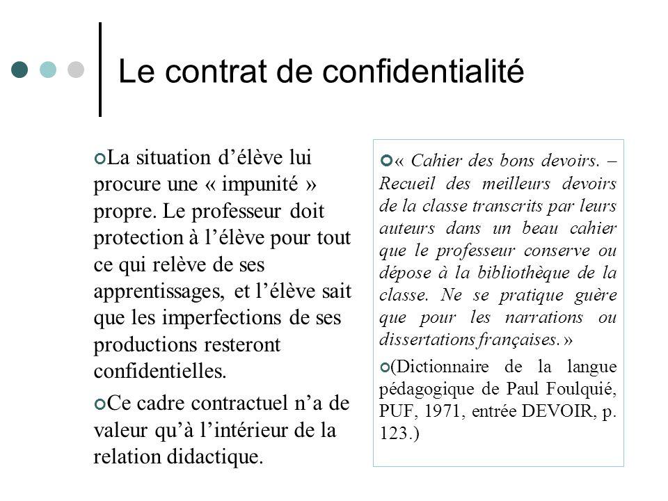 Le contrat de confidentialité La situation d'élève lui procure une « impunité » propre. Le professeur doit protection à l'élève pour tout ce qui relèv