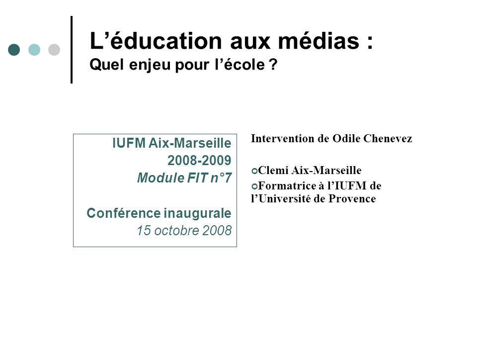 L'éducation aux médias : Quel enjeu pour l'école .