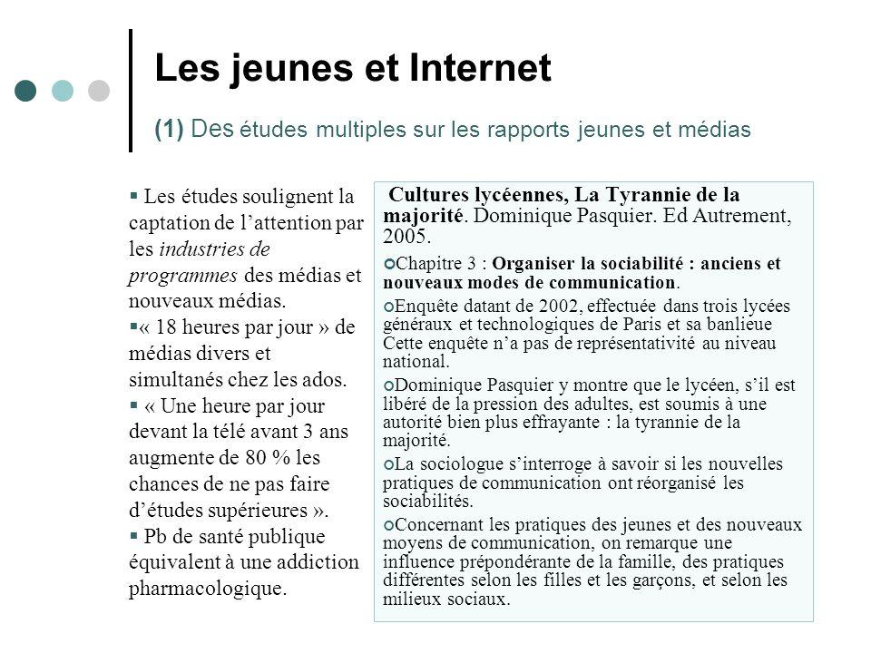 Les jeunes et Internet (1) Des études multiples sur les rapports jeunes et médias  Les études soulignent la captation de l'attention par les industries de programmes des médias et nouveaux médias.