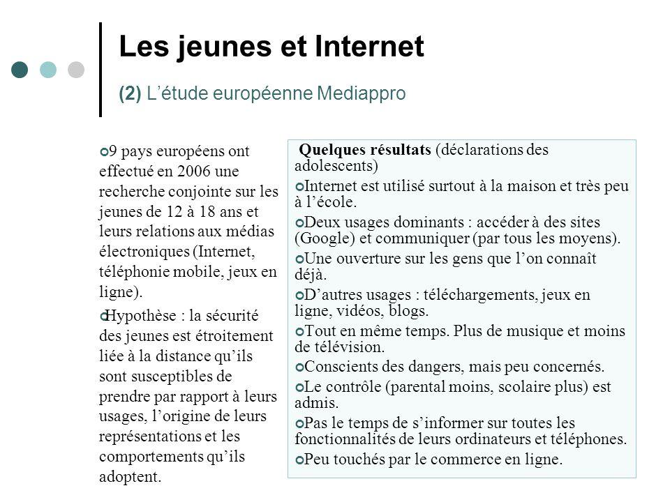 Les jeunes et Internet (2) L'étude européenne Mediappro 9 pays européens ont effectué en 2006 une recherche conjointe sur les jeunes de 12 à 18 ans et leurs relations aux médias électroniques (Internet, téléphonie mobile, jeux en ligne).