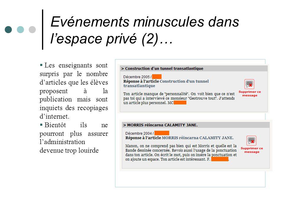Evénements minuscules dans l'espace privé (2)…  Les enseignants sont surpris par le nombre d'articles que les élèves proposent à la publication mais sont inquiets des recopiages d'internet.