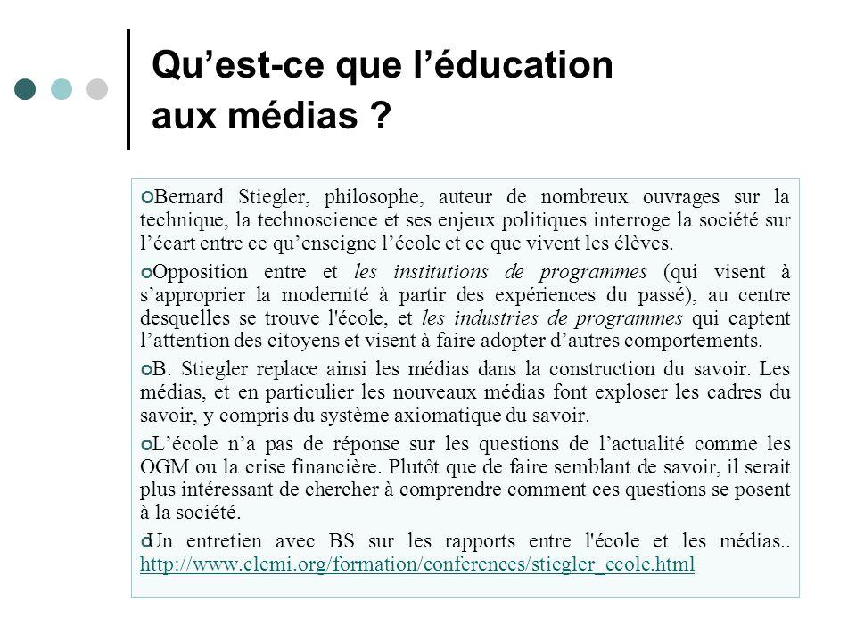 Qu'est-ce que l'éducation aux médias .