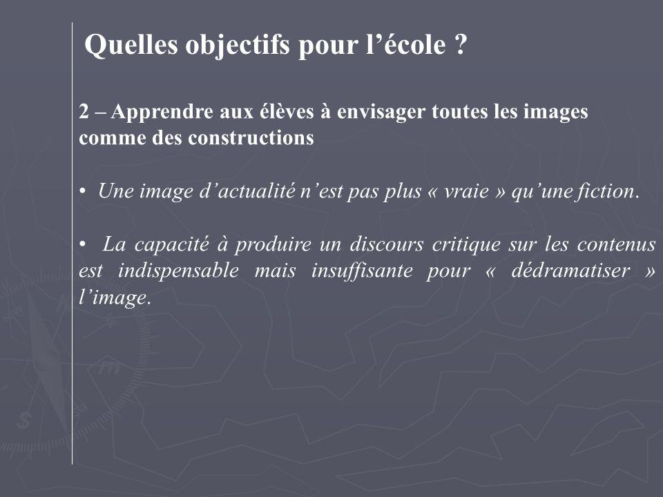 Quelles objectifs pour l'école ? 2 – Apprendre aux élèves à envisager toutes les images comme des constructions Une image d'actualité n'est pas plus «