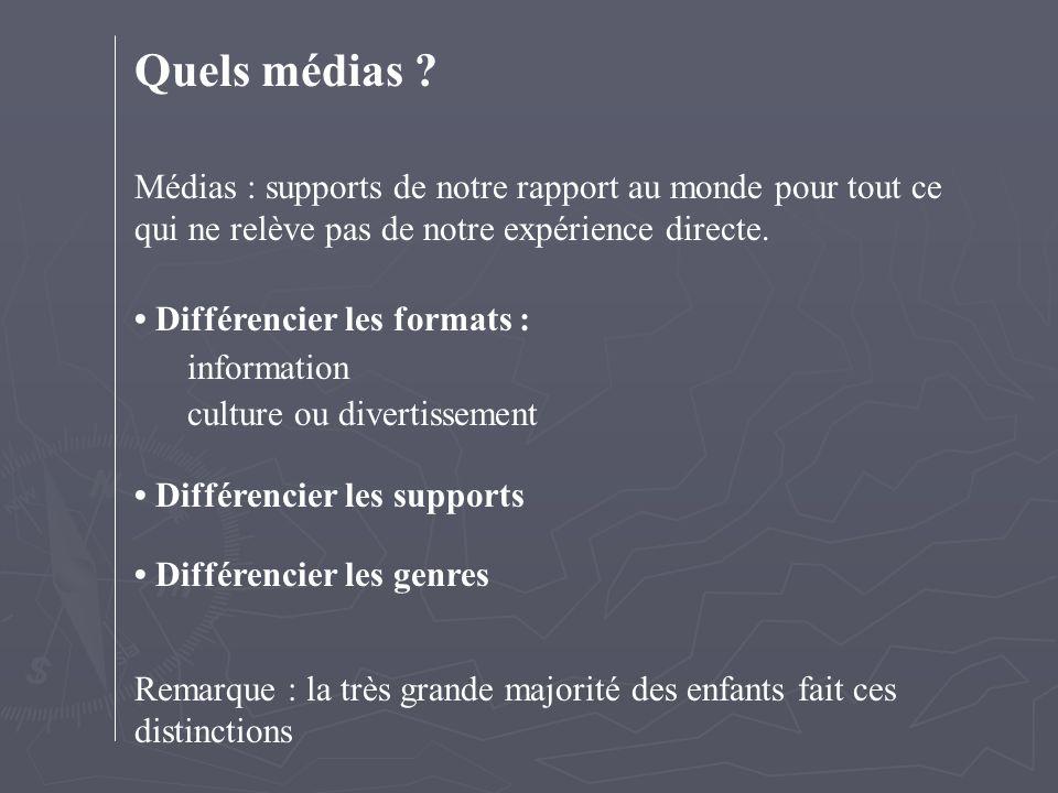 Quels médias ? Médias : supports de notre rapport au monde pour tout ce qui ne relève pas de notre expérience directe. Différencier les formats : info