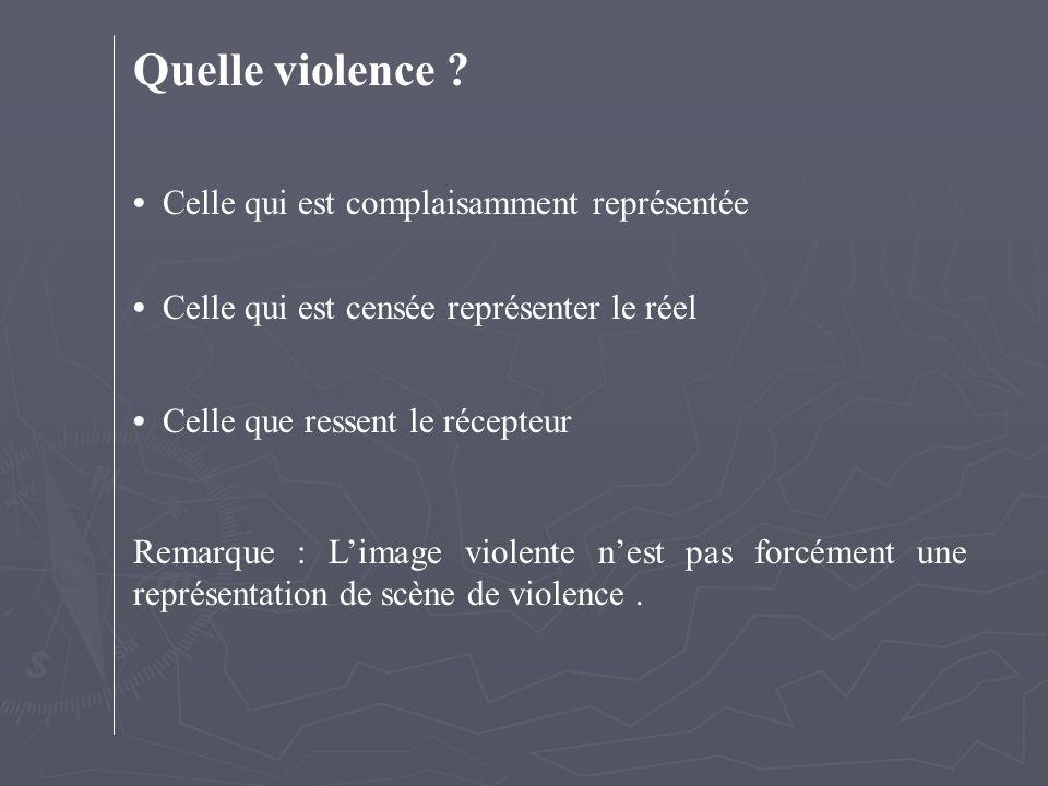 Quelle violence ? Celle qui est complaisamment représentée Celle qui est censée représenter le réel Celle que ressent le récepteur Remarque : L'image