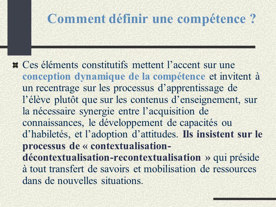 Comment définir une compétence ? Ces éléments constitutifs mettent l'accent sur une conception dynamique de la compétence et invitent à un recentrage