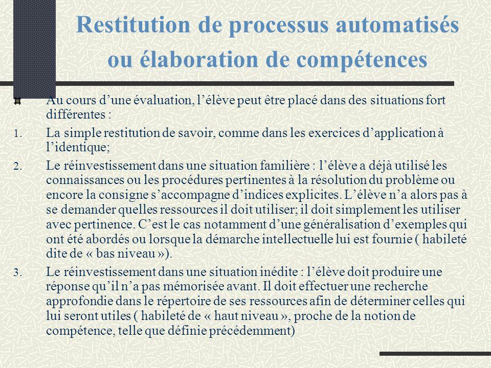 Restitution de processus automatisés ou élaboration de compétences Au cours d'une évaluation, l'élève peut être placé dans des situations fort différe