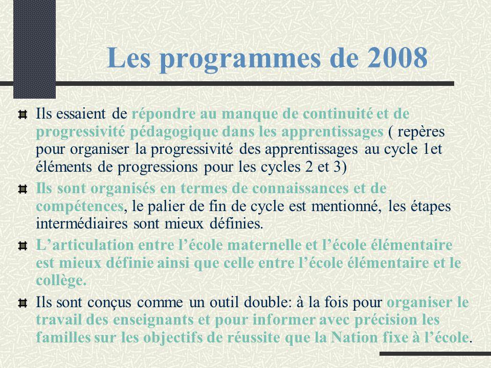 Les programmes de 2008 Ils essaient de répondre au manque de continuité et de progressivité pédagogique dans les apprentissages ( repères pour organis