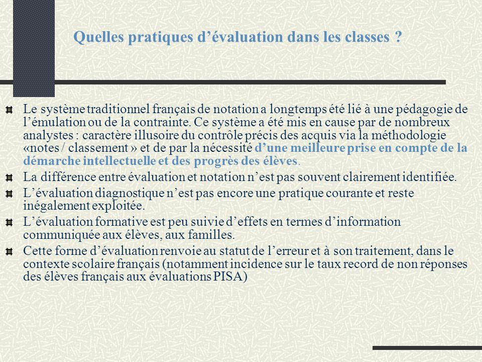 Quelles pratiques d'évaluation dans les classes ? Le système traditionnel français de notation a longtemps été lié à une pédagogie de l'émulation ou d