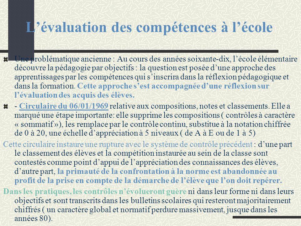 L'évaluation des compétences à l'école Une problématique ancienne : Au cours des années soixante-dix, l'école élémentaire découvre la pédagogie par ob