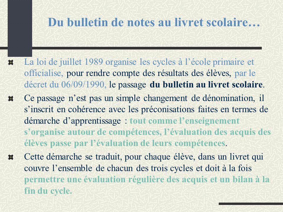 Du bulletin de notes au livret scolaire… La loi de juillet 1989 organise les cycles à l'école primaire et officialise, pour rendre compte des résultat