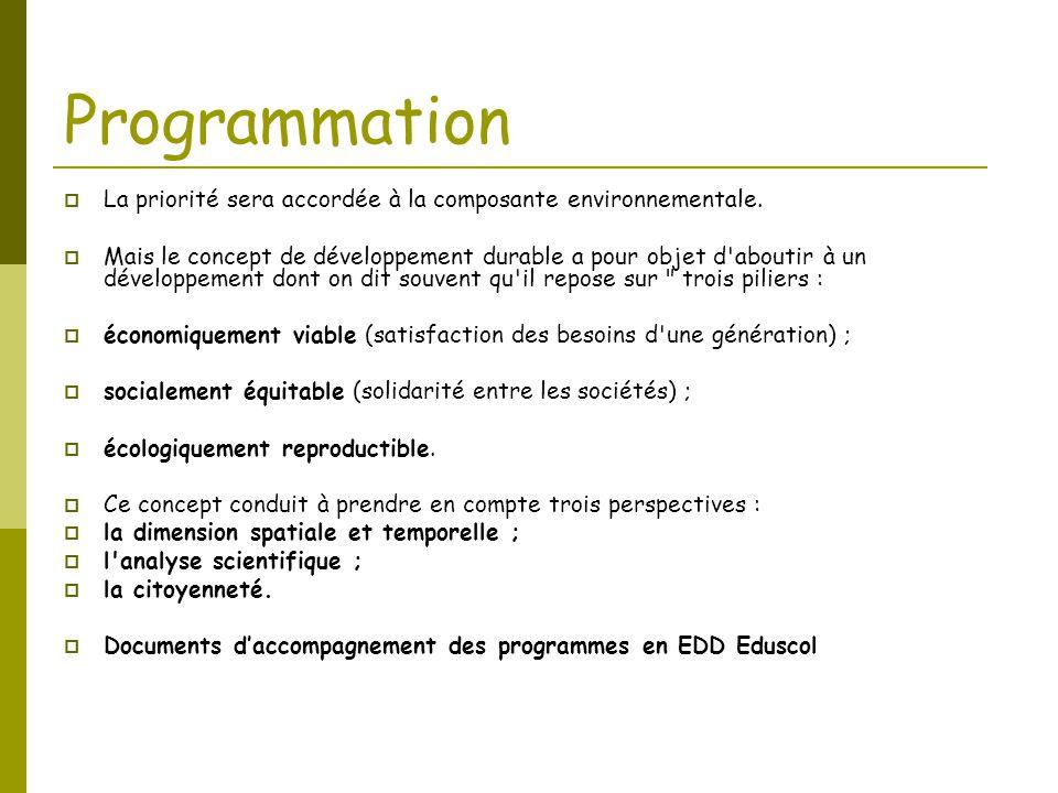 Programmation  La priorité sera accordée à la composante environnementale.  Mais le concept de développement durable a pour objet d'aboutir à un dév