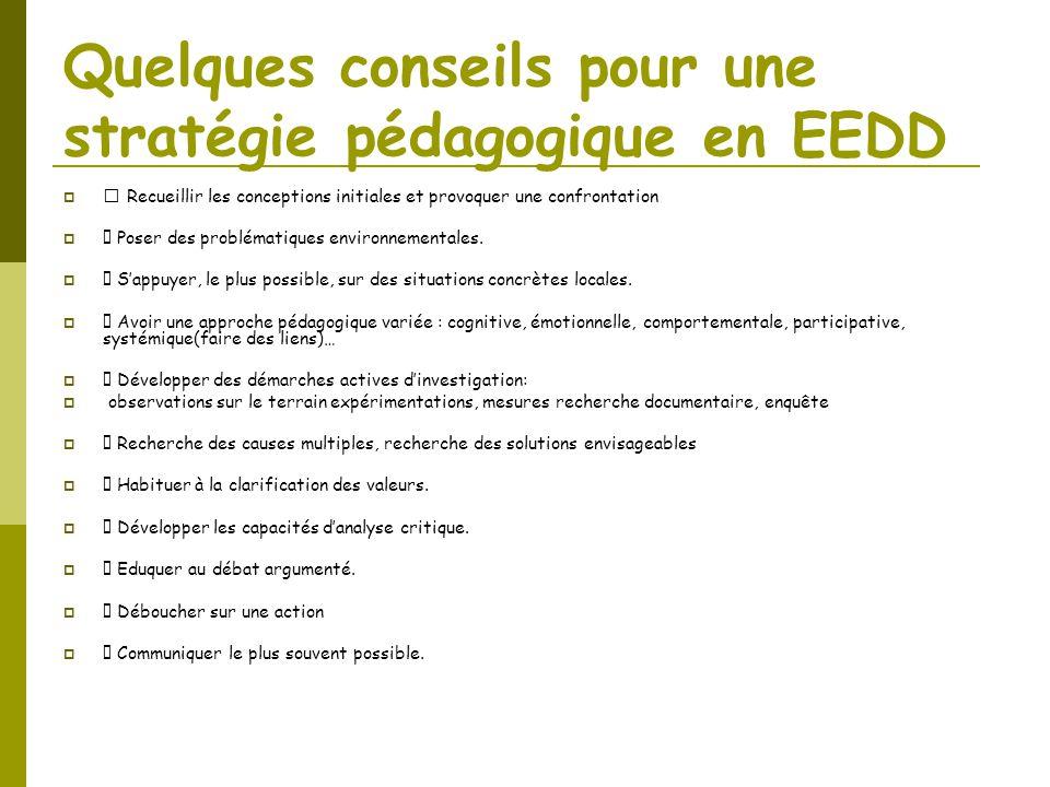 Quelques conseils pour une stratégie pédagogique en EEDD  Recueillir les conceptions initiales et provoquer une confrontation  Poser des problématiq