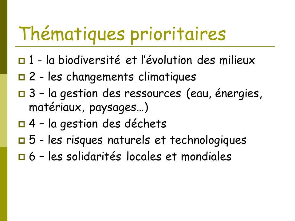 Thématiques prioritaires  1 - la biodiversité et l'évolution des milieux  2 - les changements climatiques  3 – la gestion des ressources (eau, éner