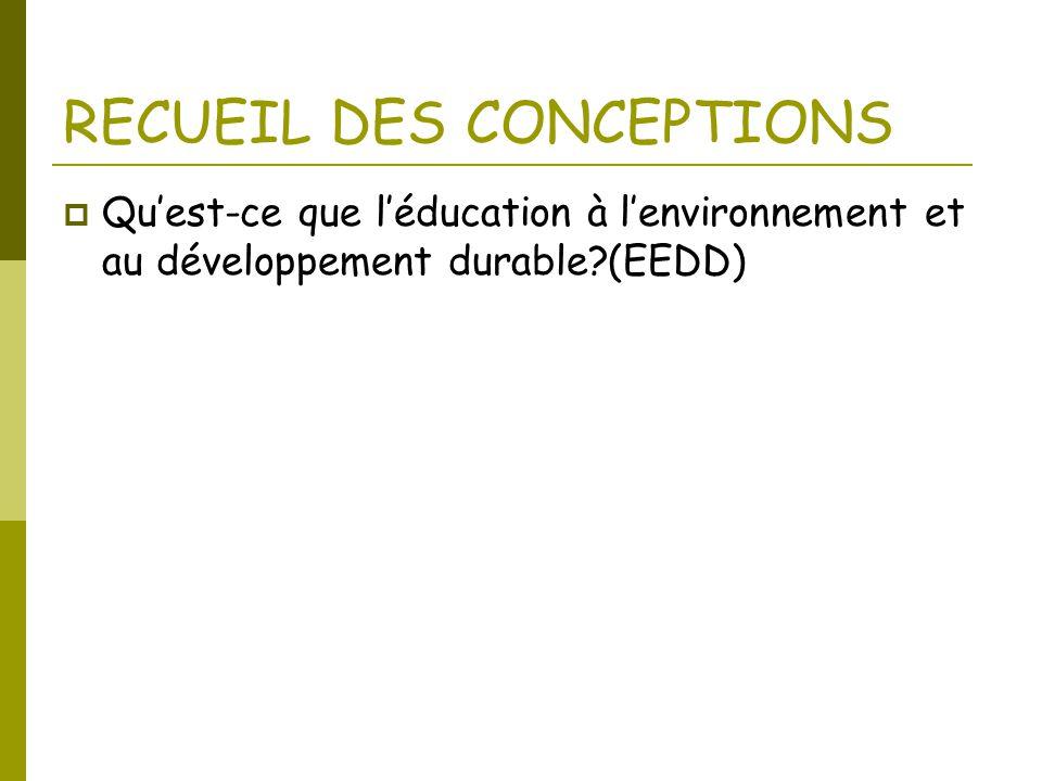 RECUEIL DES CONCEPTIONS  Qu'est-ce que l'éducation à l'environnement et au développement durable?(EEDD)