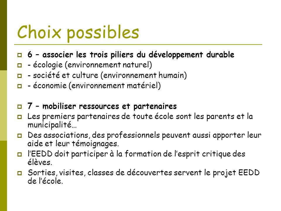 Choix possibles  6 – associer les trois piliers du développement durable  - écologie (environnement naturel)  - société et culture (environnement h