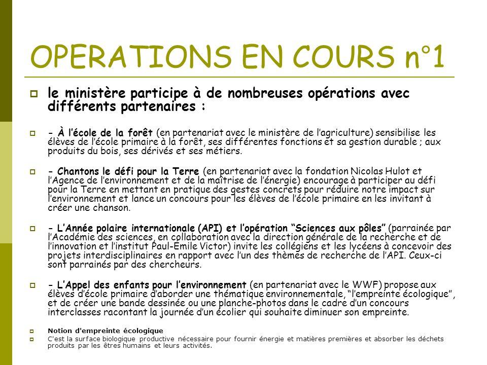 OPERATIONS EN COURS n°1  le ministère participe à de nombreuses opérations avec différents partenaires :  - À l'école de la forêt (en partenariat av