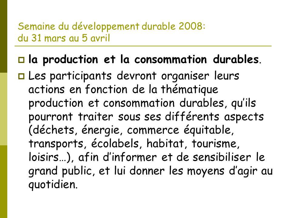 Semaine du développement durable 2008: du 31 mars au 5 avril  la production et la consommation durables.  Les participants devront organiser leurs a