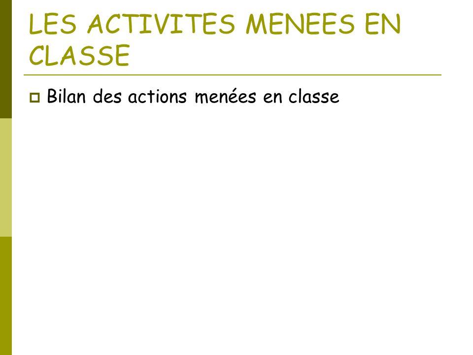 LES ACTIVITES MENEES EN CLASSE  Bilan des actions menées en classe