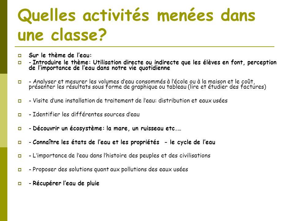 Quelles activités menées dans une classe?  Sur le thème de l'eau:  - Introduire le thème: Utilisation directe ou indirecte que les élèves en font, p