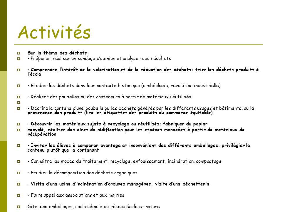 Activités  Sur le thème des déchets:  - Préparer, réaliser un sondage d'opinion et analyser ses résultats  - Comprendre l'intérêt de la valorisatio