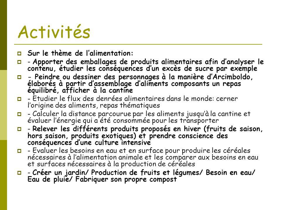 Activités  Sur le thème de l'alimentation:  - Apporter des emballages de produits alimentaires afin d'analyser le contenu, étudier les conséquences