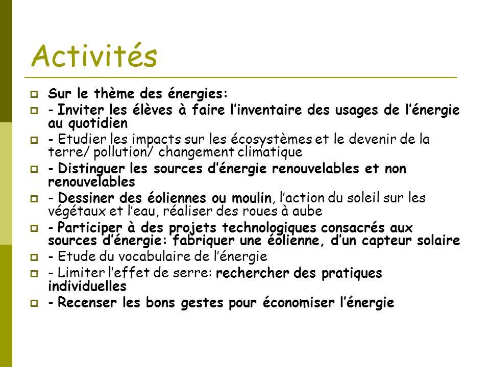 Activités  Sur le thème des énergies:  - Inviter les élèves à faire l'inventaire des usages de l'énergie au quotidien  - Etudier les impacts sur le