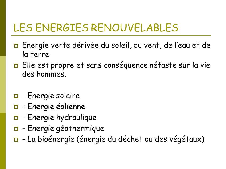 LES ENERGIES RENOUVELABLES  Energie verte dérivée du soleil, du vent, de l'eau et de la terre  Elle est propre et sans conséquence néfaste sur la vi