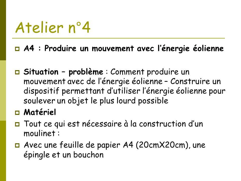 Atelier n°4  A4 : Produire un mouvement avec l'énergie éolienne  Situation – problème : Comment produire un mouvement avec de l'énergie éolienne – C