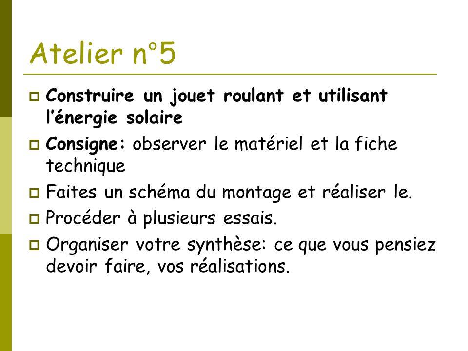 Atelier n°5  Construire un jouet roulant et utilisant l'énergie solaire  Consigne: observer le matériel et la fiche technique  Faites un schéma du