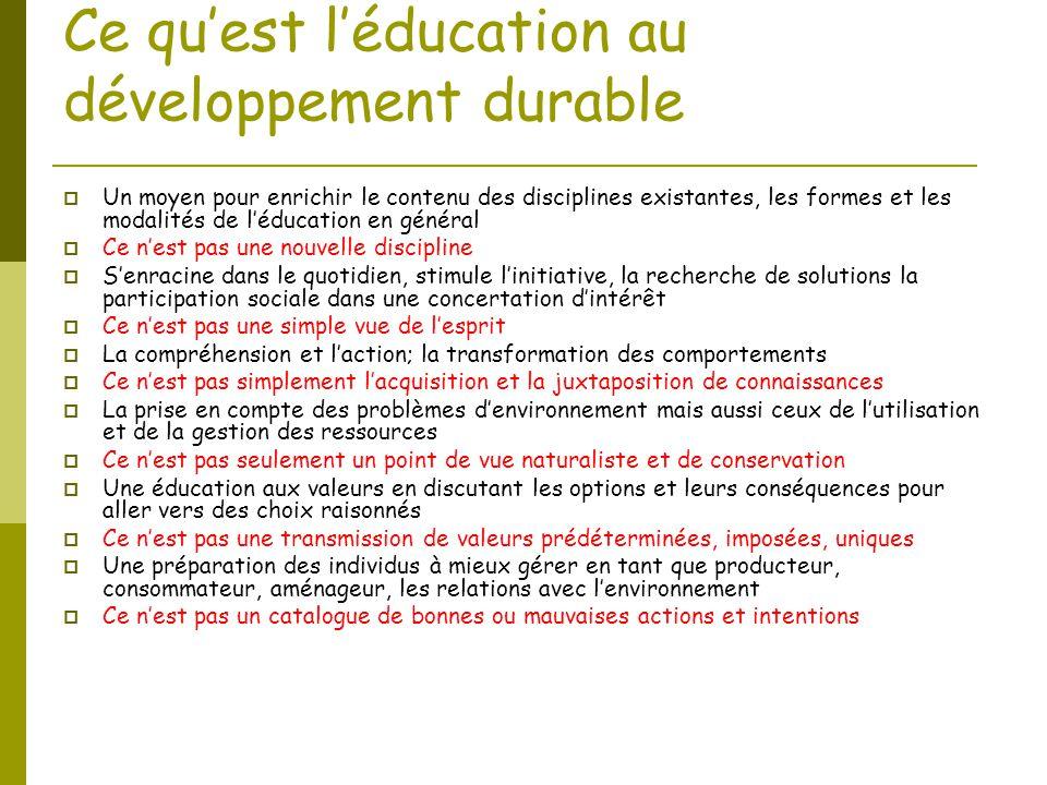 Ce qu'est l'éducation au développement durable  Un moyen pour enrichir le contenu des disciplines existantes, les formes et les modalités de l'éducat
