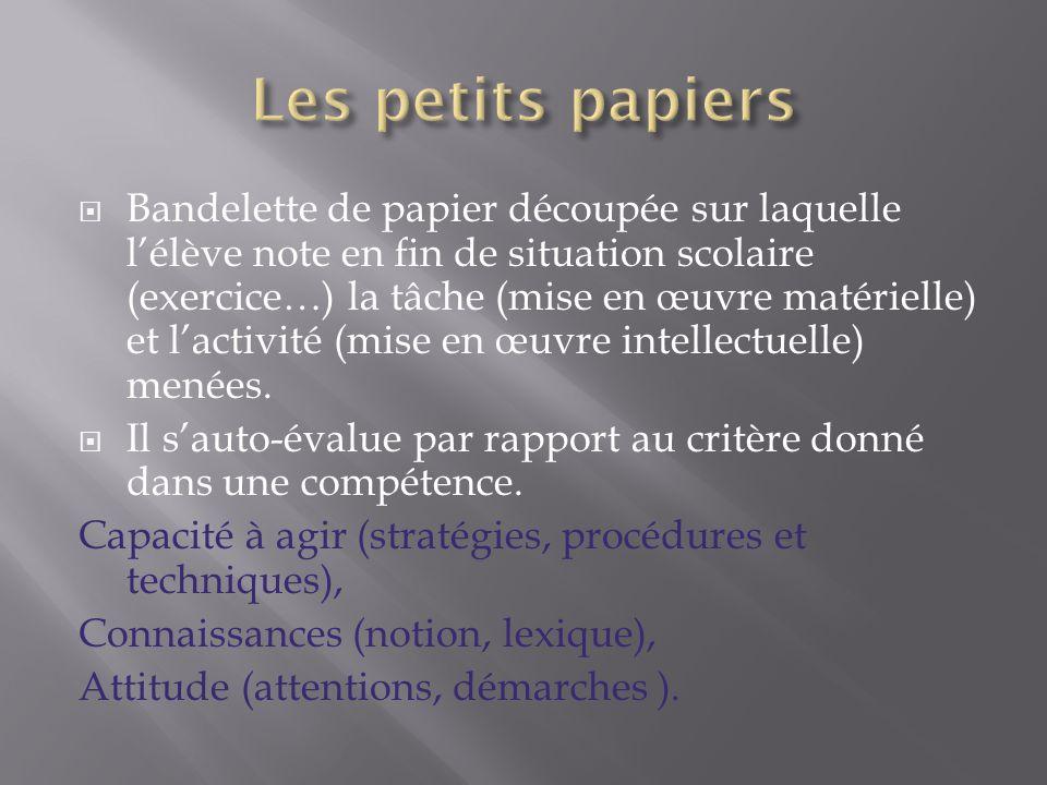  Bandelette de papier découpée sur laquelle l'élève note en fin de situation scolaire (exercice…) la tâche (mise en œuvre matérielle) et l'activité (