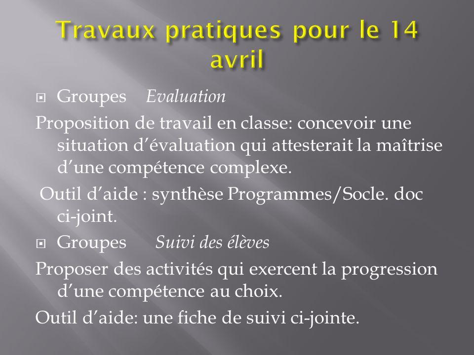  Groupes Evaluation Proposition de travail en classe: concevoir une situation d'évaluation qui attesterait la maîtrise d'une compétence complexe. Out