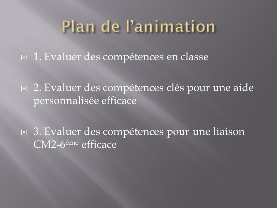  1. Evaluer des compétences en classe  2. Evaluer des compétences clés pour une aide personnalisée efficace  3. Evaluer des compétences pour une li